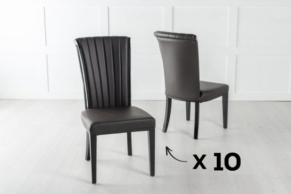 Set of 10 Cadiz Brown Faux Leather Dining Chair
