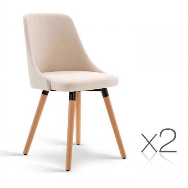 Set of 2 Fabric Dining Chair Beige | Afterpay | zipPay | Oxipay