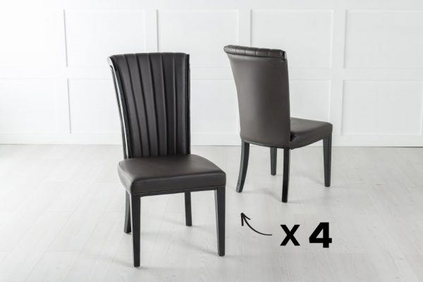 Set of 4 Cadiz Brown Faux Leather Dining Chair