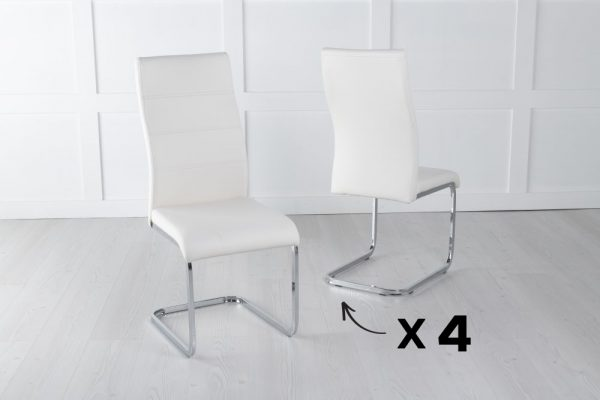 Set of 4 Malibu Metal Cream Dining Chair