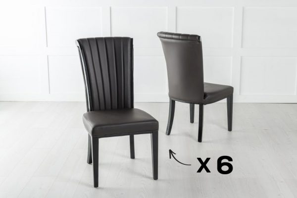 Set of 6 Cadiz Brown Faux Leather Dining Chair