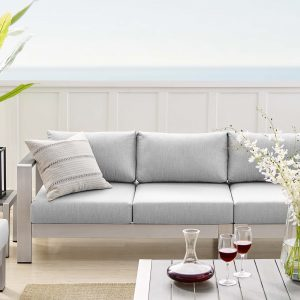 Shore Sunbrella® Fabric Outdoor Patio Aluminum 7 Piece Sectional Sofa Set in Silver Gray