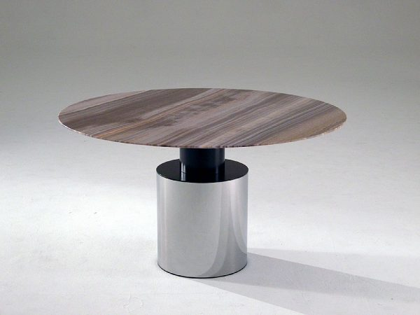 Stone International Athena Round Dining Table - Marble and Polished Steel