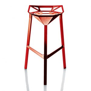 "Stool One, Set of 2 in Red Painted Aluminum, Bar Height + $40.00"",""Color"":""Red Painted Aluminum""}Tall by Magis"