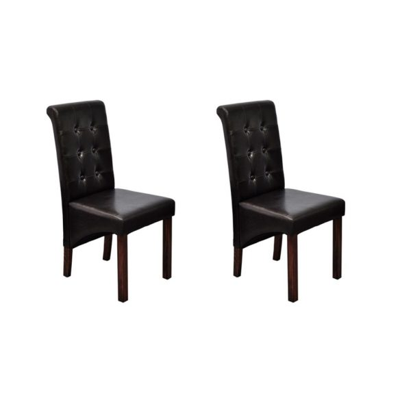 Synthetic Leather Dining Chairs (2 Pcs) - Brown