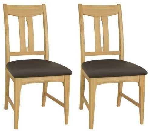 TCH New England Oak Vermont Leather Seat Dining Chair (Pair)