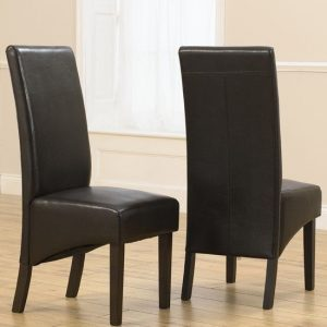 Tangra Brown Leather Dining Chairs In Pair