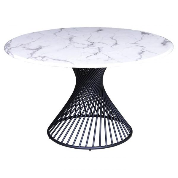 Tornado Faux Marble Round Dining Table, 130cm, White / Black