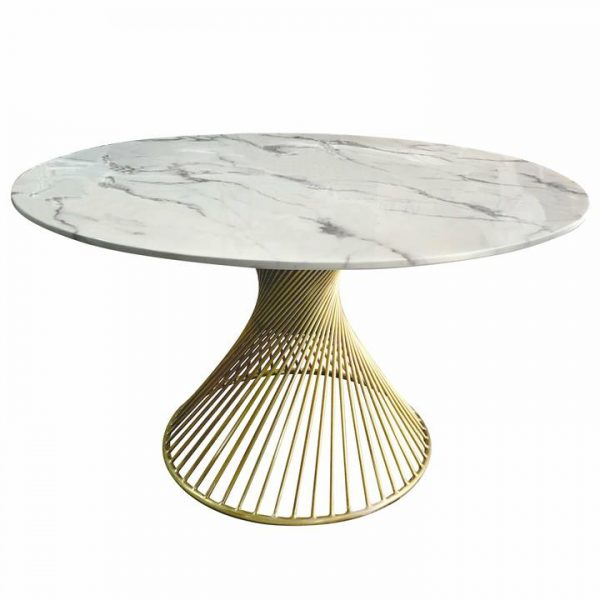 Tornado Faux Marble Round Dining Table, 130cm, White / Gold