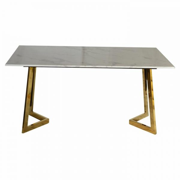 Traessa Marblite & Metal Dining Table, 150cm