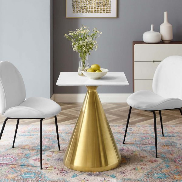 "Tupelo 24"" Square Dining Table in Gold White"