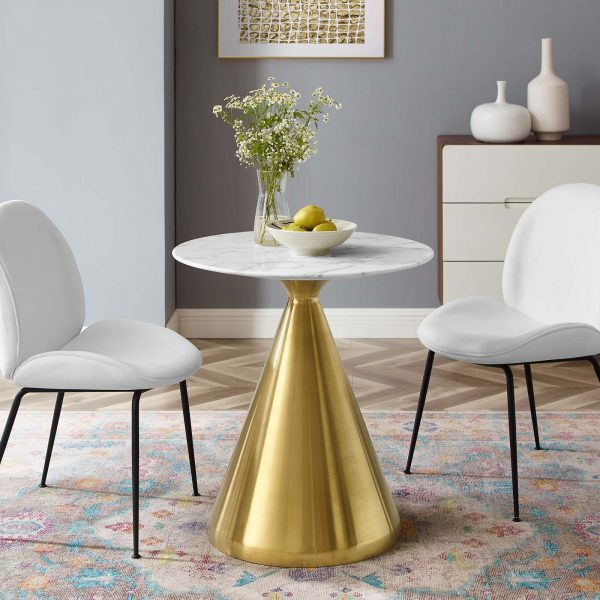"Tupelo 28"" Artificial Marble Dining Table in Gold White"