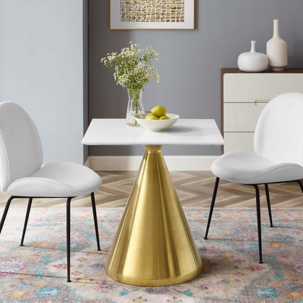 "Tupelo 28"" Square Dining Table in Gold White"