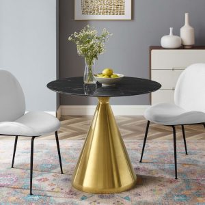 "Tupelo 36"" Artificial Marble Dining Table in Gold Black"