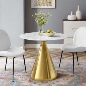 """Tupelo 36"""" Artificial Marble Dining Table in Gold White"""
