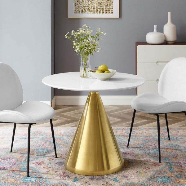 """Tupelo 36"""" Dining Table in Gold White"""