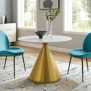 "Tupelo 40"" Artificial Marble Dining Table in Gold White"