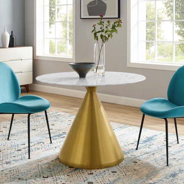 """Tupelo 40"""" Artificial Marble Dining Table in Gold White"""