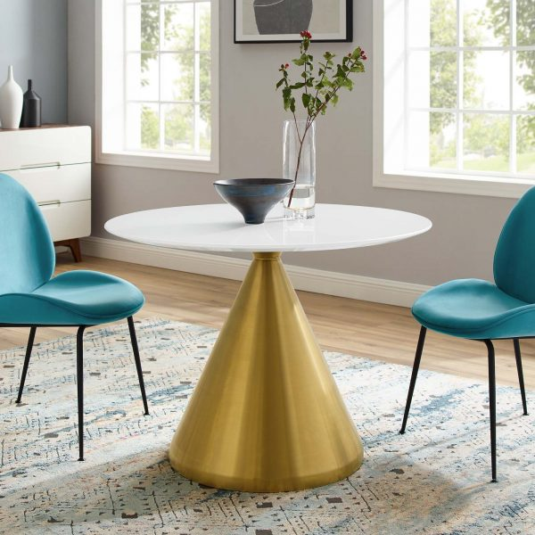 """Tupelo 40"""" Dining Table in Gold White"""
