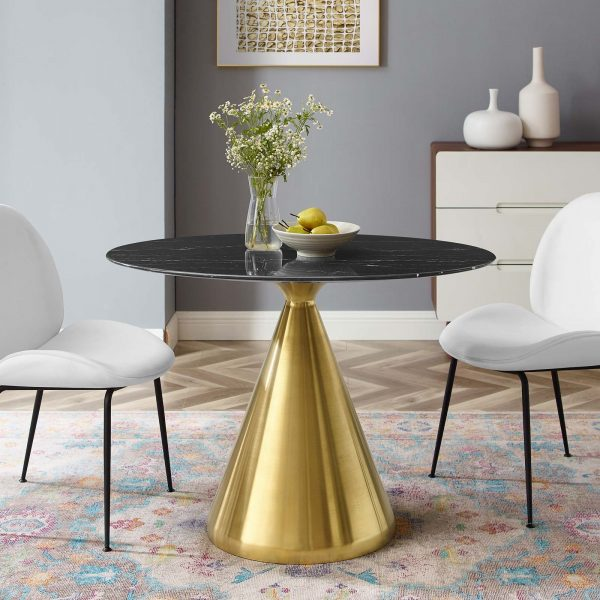 """Tupelo 42"""" Oval Artificial Marble Dining Table in Gold Black"""