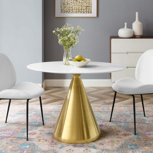 """Tupelo 42"""" Oval Dining Table in Gold White"""