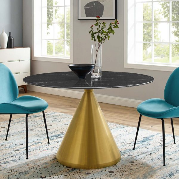 """Tupelo 47"""" Artificial Marble Dining Table in Gold Black"""