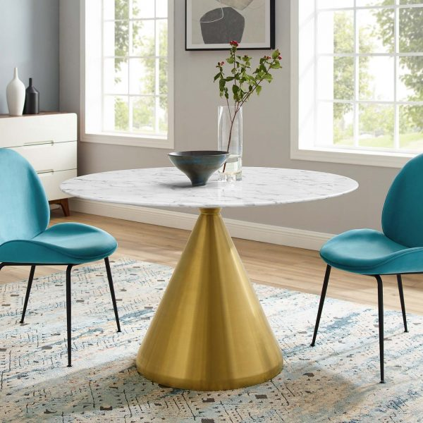 """Tupelo 47"""" Artificial Marble Dining Table in Gold White"""