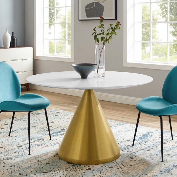 "Tupelo 47"" Dining Table in Gold White"