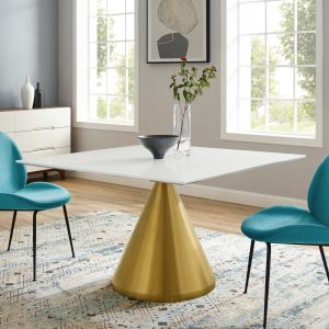 "Tupelo 47"" Square Dining Table in Gold White"