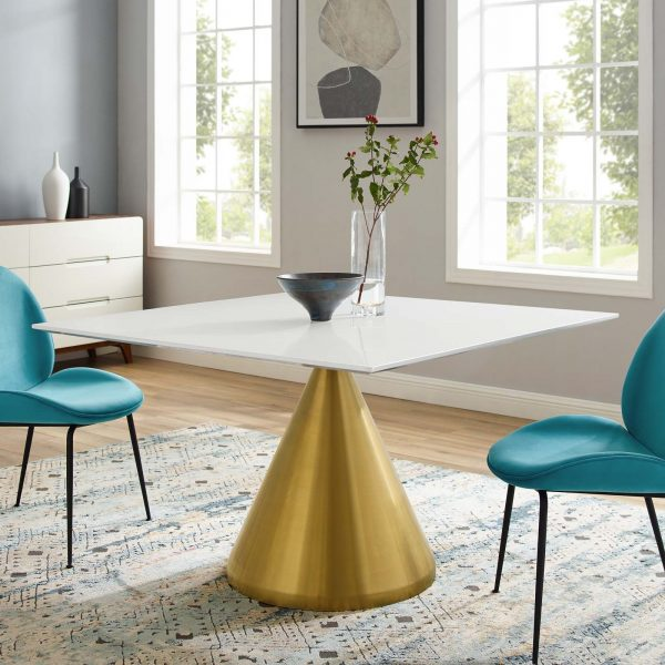 """Tupelo 47"""" Square Dining Table in Gold White"""