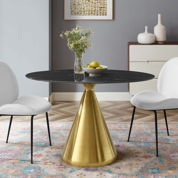 """Tupelo 48"""" Oval Artificial Marble Dining Table in Gold Black"""
