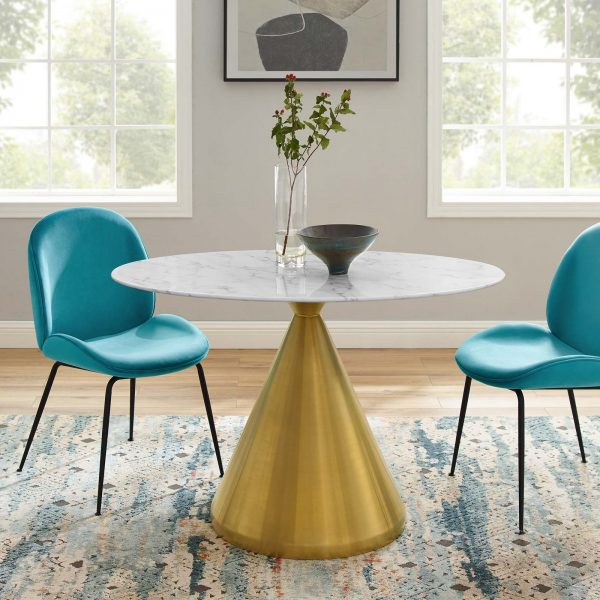 """Tupelo 48"""" Oval Artificial Marble Dining Table in Gold White"""