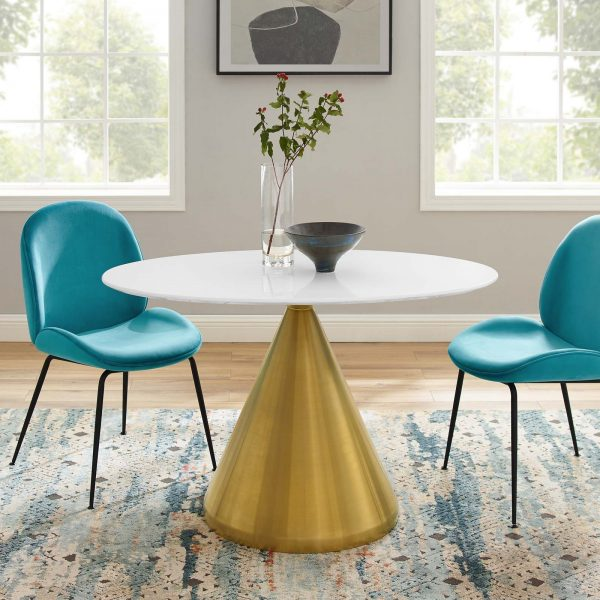 "Tupelo 48"" Oval Dining Table in Gold White"