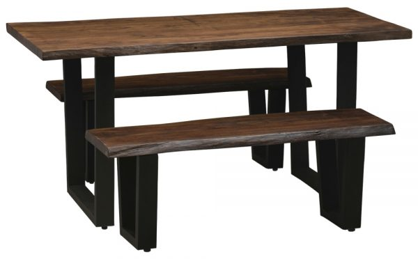Urban Deco Live Edge Solid Acacia Wood 180cm Dining Table and 2 Bench - Dark