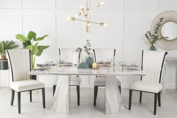 Urban Deco Midas 180cm Grey and White Marble Dining Table and 6 Cadiz White Chairs
