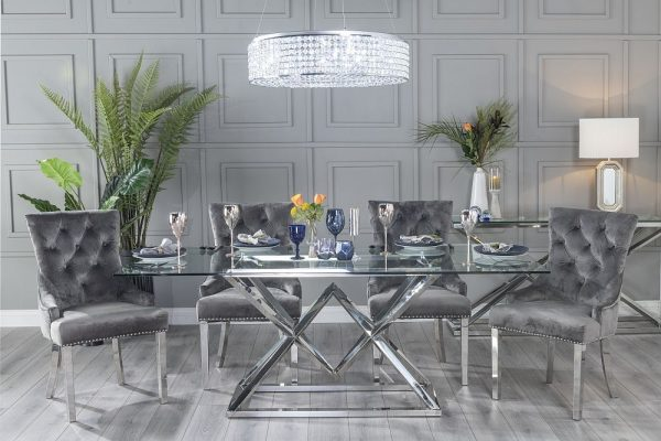 Urban Deco Pyramid 200cm Glass and Chrome Dining Table and 6 Grey Knockerback Chrome Leg Chairs