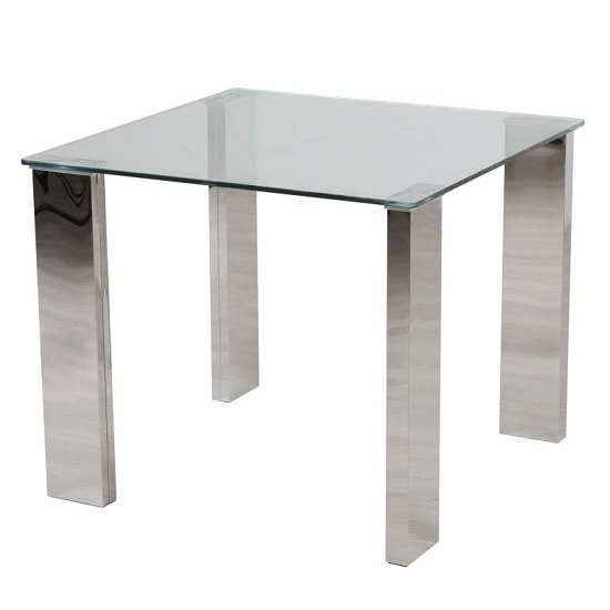 Valencie Glass Dining Table Square With Polished Steel Base