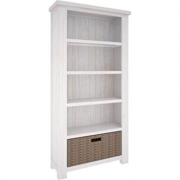 Viborg Solid Mountain Ash Timber Bookcase with Basket Drawer