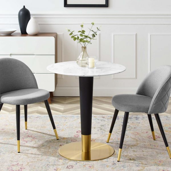 """Zinque 28"""" Artificial Marble Dining Table in Gold White"""