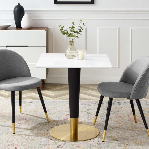 "Zinque 28"" Square Dining Table in Gold White"