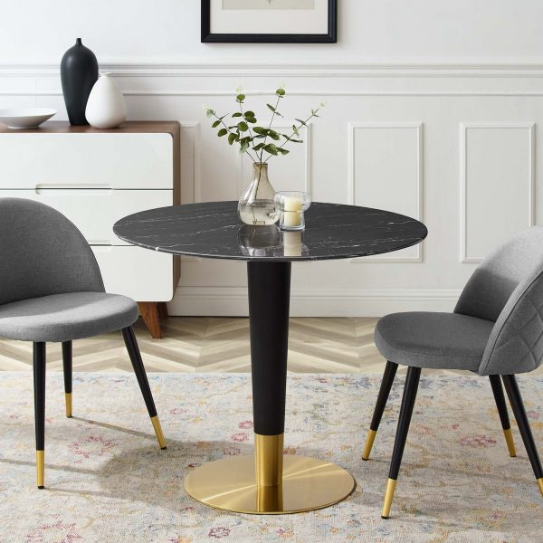 """Zinque 36"""" Artificial Marble Dining Table in Gold Black"""