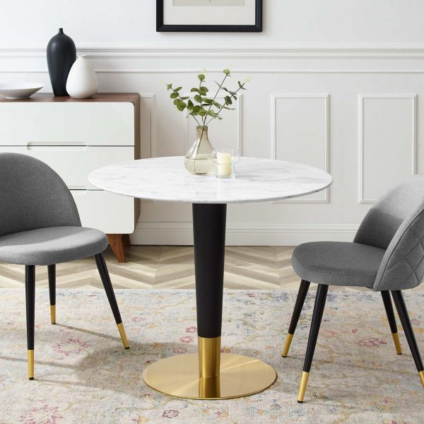 "Zinque 36"" Artificial Marble Dining Table in Gold White"