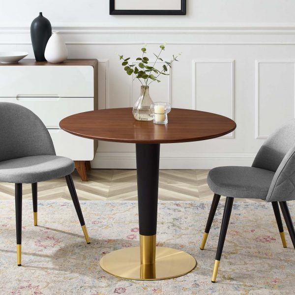 """Zinque 36"""" Dining Table in Gold Walnut"""