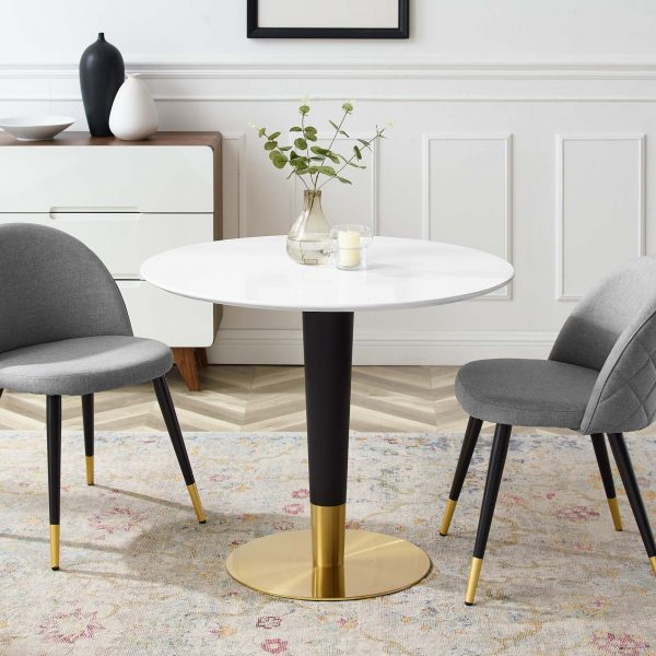 """Zinque 36"""" Dining Table in Gold White"""