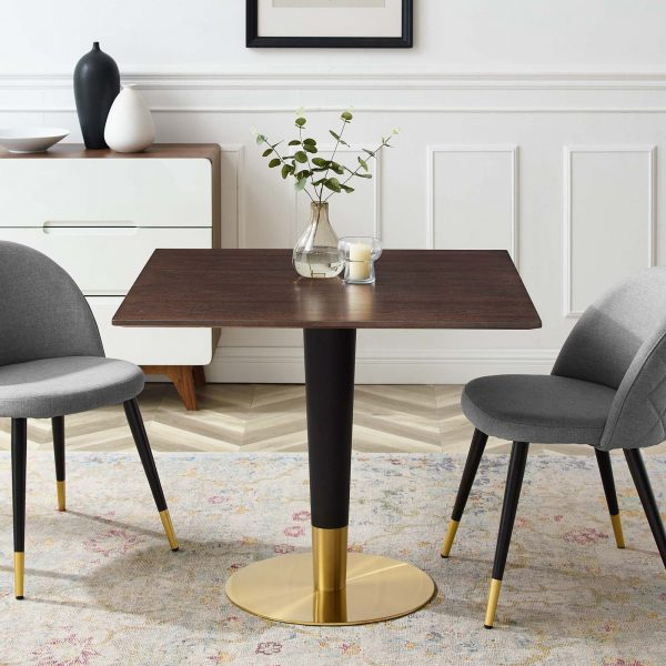 """Zinque 36"""" Square Dining Table in Gold Cherry Walnut"""