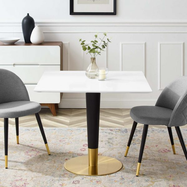 "Zinque 36"" Square Dining Table in Gold White"