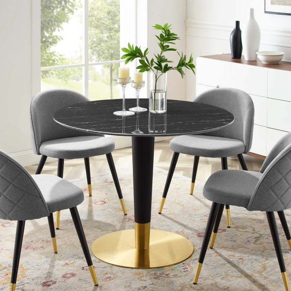 """Zinque 40"""" Artificial Marble Dining Table in Gold Black"""