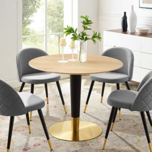 "Zinque 40"" Dining Table in Gold Natural"