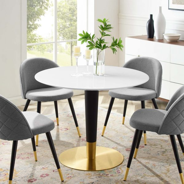 """Zinque 40"""" Dining Table in Gold White"""