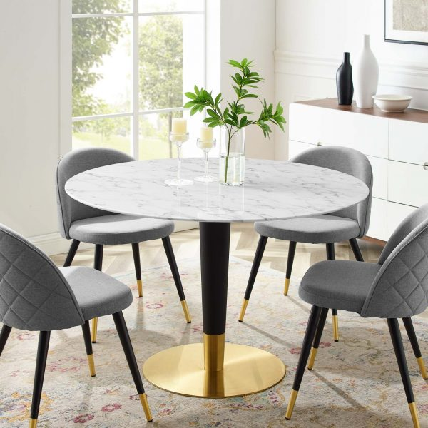 """Zinque 47"""" Artificial Marble Dining Table in Gold White"""